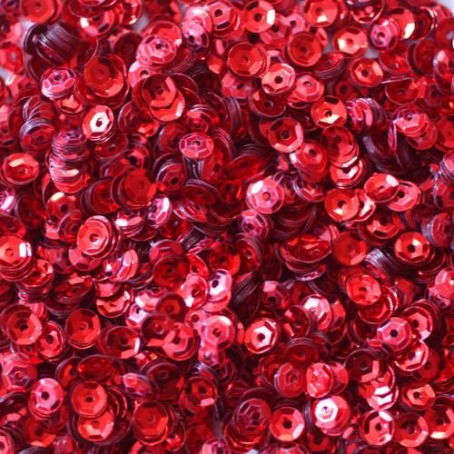 4mm Cup Sequins Red Metallic