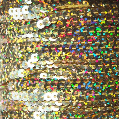 Sequin Trim 4mm Ultra Gold Hologram Glitter Sparkle Metallic