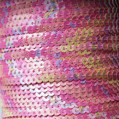 Sequin Trim 4mm Pink Flower Garden Print Opaque