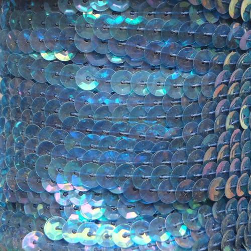 Sequin Trim 5mm Cup Deep Aqua Crystal Rainbow Iris Iridescent