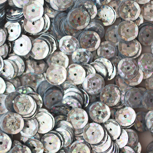 8mm Cup Sequins Silver Hologram Glitter Sparkle Metallic