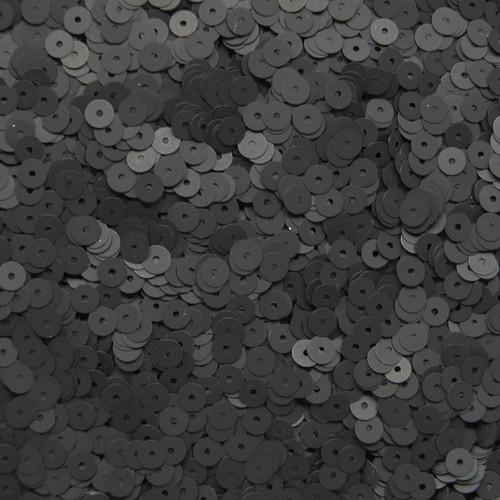 5mm Sequins Black Matte Silk Frost
