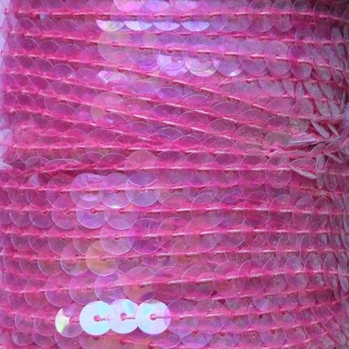 Sequin Trim 6mm Pink Crystal Rainbow Iris Iridescent
