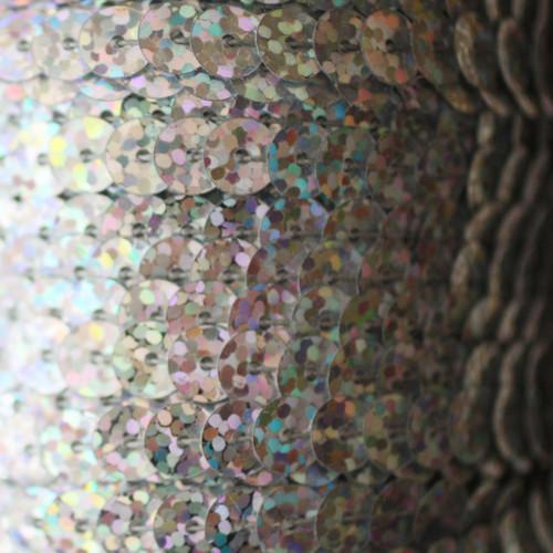 Sequin Trim 6mm Silver Hologram Glitter Sparkle Metallic