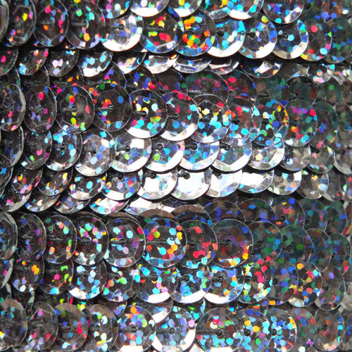 Sequin Trim 8mm Cup Black Galactic Night Hologram Glitter Sparkle Metallic