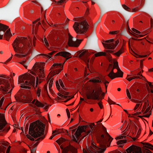 8mm Cup Sequins Red Metallic