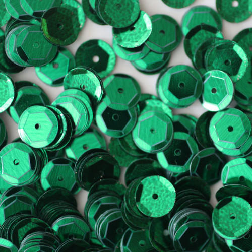 8mm Cup Sequins Green Metallic