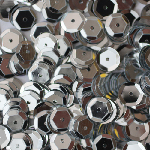8mm Cup Sequins Silver Metallic
