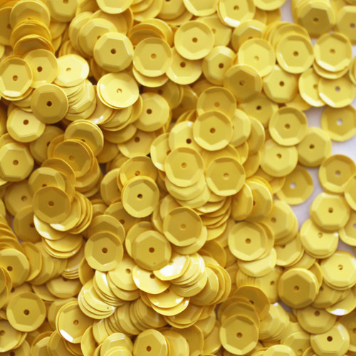 8mm Cup Sequins Yellow Opaque