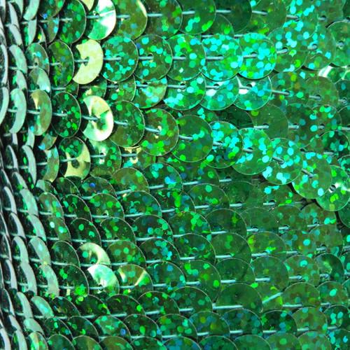 Sequin Trim 8mm Green Hologram Glitter Sparkle Metallic