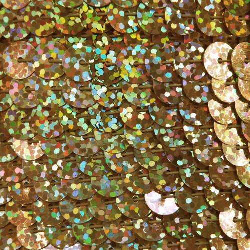 Sequin Trim 8mm Ultra Gold Hologram Glitter Sparkle Metallic