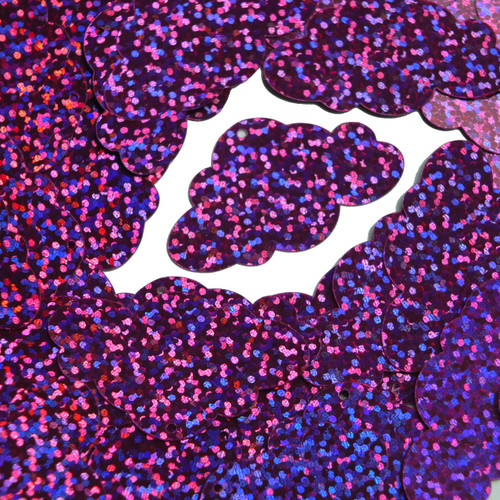 "Cloud Sequin 1.5"" Violet Purple Hologram Glitter Sparkle Metallic"