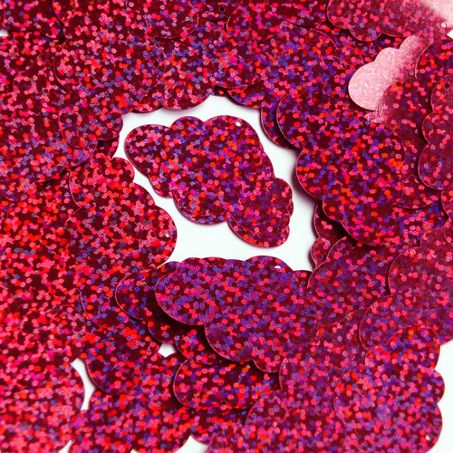 "Cloud Sequin 1.5"" Berry Pink Hologram Glitter Sparkle Metallic"