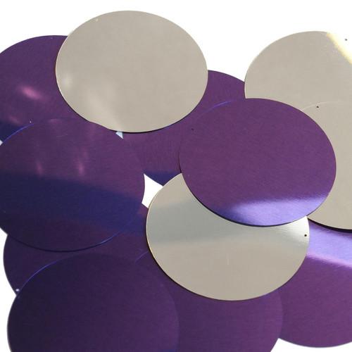 60mm Sequins Purple Silver Metallic