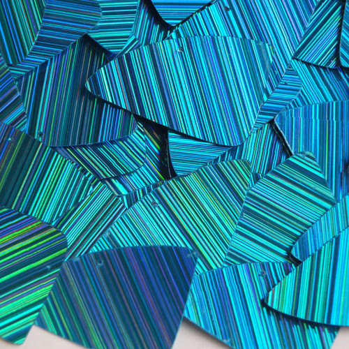 "Fishscale Fin Sequin 1.5"" Aqua City Lights Metallic Reflective"