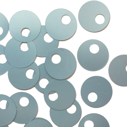 20mm Sequins Large Hole Light Blue Matte Silk Frost