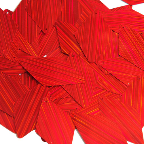 "Long Diamond Sequin 1.75"" Red City Lights Metallic Reflective"
