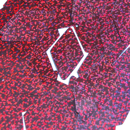 "Long Diamond Sequin 1.75"" Cranberry Red Hologram Glitter Sparkle Metallic"