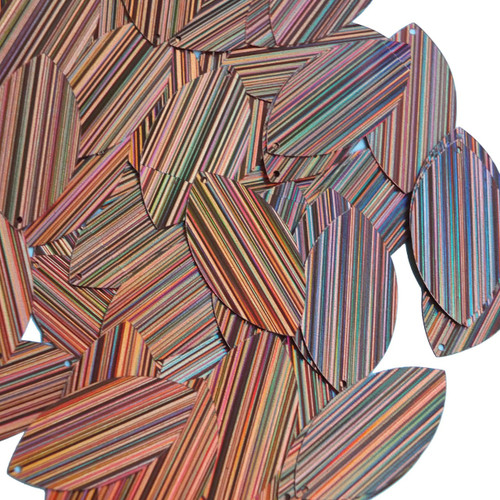 "Navette Leaf Sequin 1.5"" Salmon Pink City Lights Metallic Reflective"