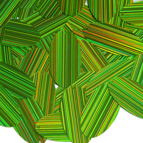 """Oval Sequin 1.5"""" Lime Green  City Lights Metallic Reflective"""