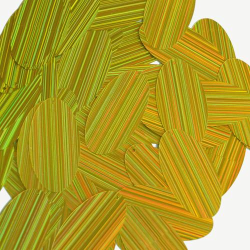 "Oval Sequin 1.5"" Yellow City Lights Metallic Reflective"