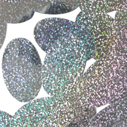 "Oval Sequin 2"" Silver Hologram Glitter Sparkle Metallic"