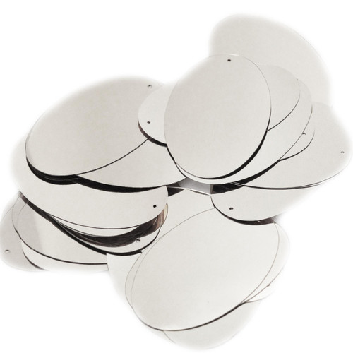 "Oval Sequin 2"" Silver Metallic"