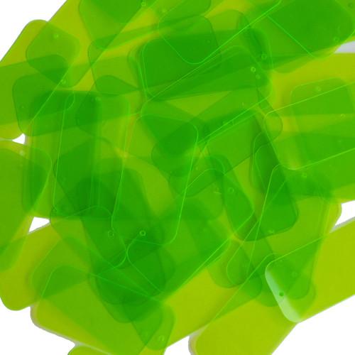 "Rectangle Sequin 1.5"" Lime Green Transparent See-Thru Fluorescent"
