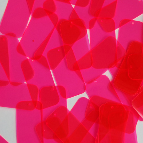 "Rectangle Sequin 1.5"" Pink Transparent See-Thru Fluorescent"