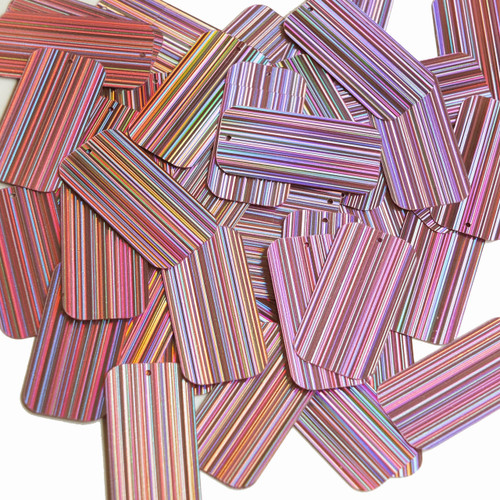 "Rectangle Sequin 1.5"" Pink City Lights Metallic Reflective"