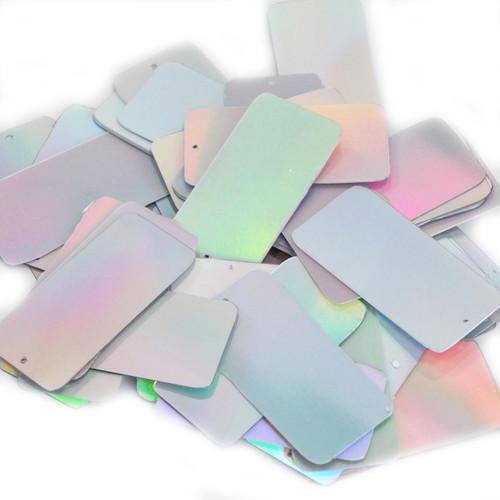 "Rectangle Sequin 1.5"" Silver Lazersheen"