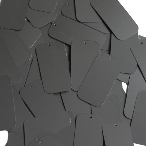 "Rectangle Sequin 1.5"" Black Matte Silk Frost"