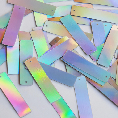 """Sequin Skinny Rectangle 1.5"""" Silver Lazersheen Metallic"""