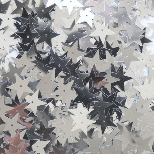 Star Sequin 15mm Silver Metallic