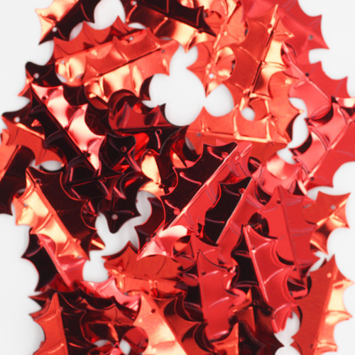 Holly Leaf Sequin 25mm Red Metallic