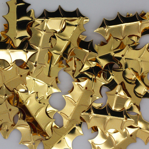 Holly Leaf Sequin 25mm Gold Metallic