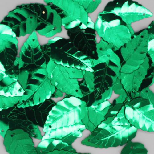 Large Leaf Sequin 25mm Green Metallic