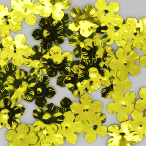Flower Rosette Sequin 15mm Yellow Metallic