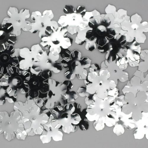 Flower Rosette Sequin 15mm Silver Metallic