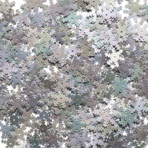 Snowflake Sequin 15mm Silver Rainbow Iris Shiny Metallic