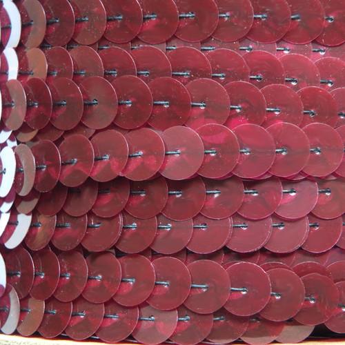 Sequin Trim 10mm Iron On Burgundy Wine Red Metallic