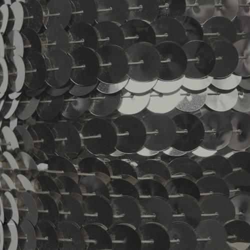 Sequin Trim 10mm Iron On Hematite Shiny Gray Metallic