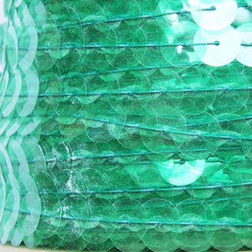 Sequin Trim 10mm Iron On Fresh Green Transparent See-Thru