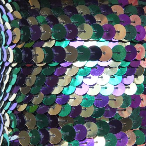 Sequin Trim 8mm Iron On Purple Green Gold Mardi Gras Metallic