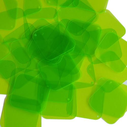 "Square Diamond Sequin 1.5"" Lime Green Transparent See-Thru Fluorescent"