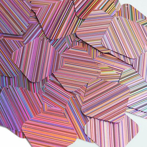 "Square Diamond Sequin 1.5"" Pink City Lights Metallic Reflective"