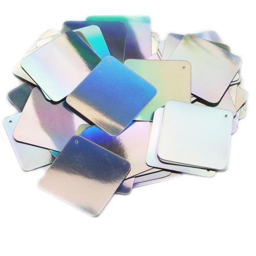 "Square Diamond Sequin 1.5"" Silver Lazersheen"