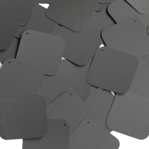 """Square Diamond Sequin 1.5"""" Black Matte Silk Frost"""