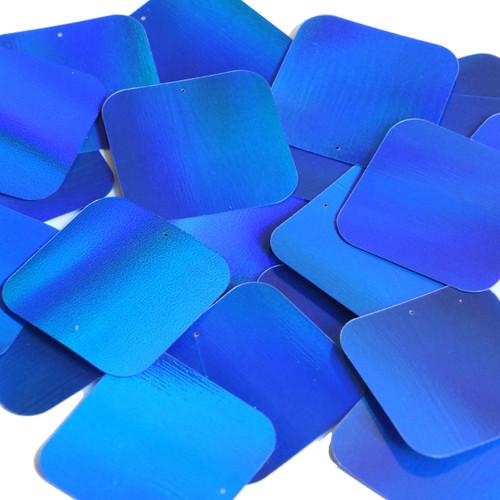 Square Sequin 40mm Blue Lazersheen Reflective Metallic