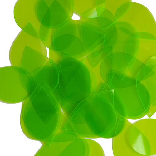 """Teardrop Sequin 1.5"""" Lime Green Transparent See-Thru Fluorescent"""